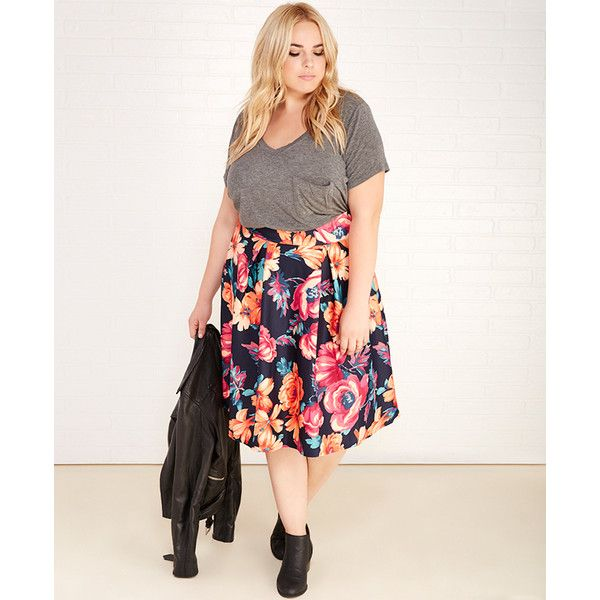 Zenobia  Floral Print Scuba Knit Pleated Skirt ($23) ❤ liked on Polyvore featuring plus size women's fashion, plus size clothing, plus size skirts, navy, plus size, wet seal, white pleated skirt, midi skirt, floral skirt and white skirt