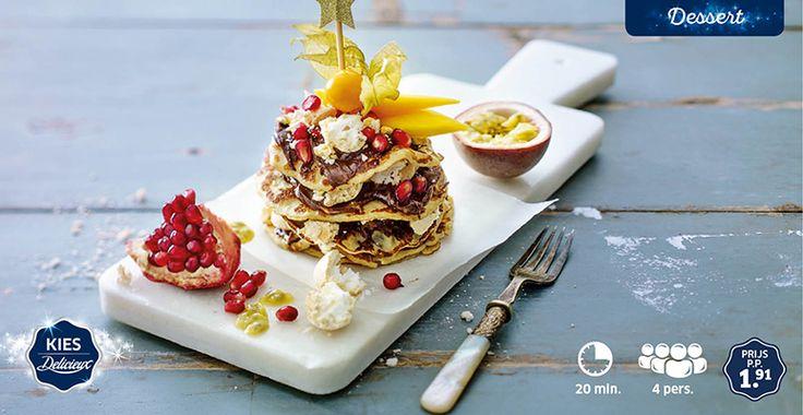 Kleine pannenkoekentaartjes met exotisch fruit en meringuettes #Kerst #Lidl #Delicieux #pancake