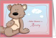 Avery - Teddy Bear Baby Shower Invitation Card by Greeting Card Universe. $3.00. 5 x 7 inch premium quality folded paper greeting card. Baby Shower invitations & photo Baby Shower invitations are available at Greeting Card Universe. Send a custom invitation to your friends and family. Allow Greeting Card Universe to handle all your Baby Shower invitation needs this year. This paper card includes the following themes: Avery, personalized baby girl baby shower in...