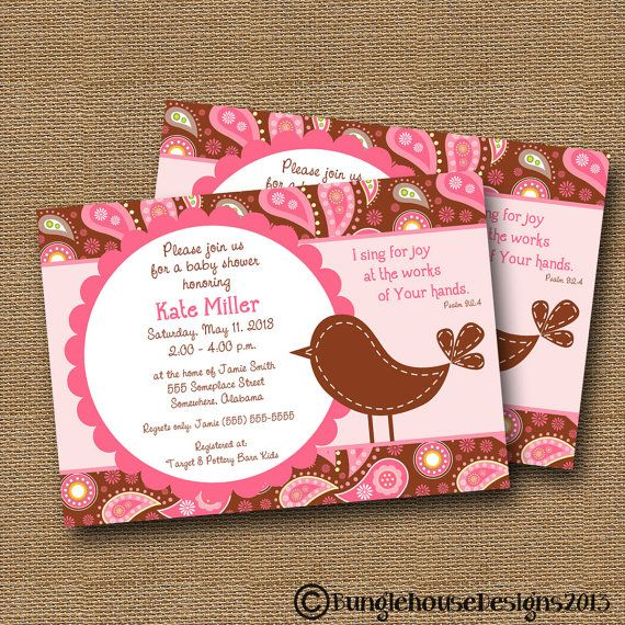 Bird Baby Shower Invitation Girl DIY PRINTABLE Pink