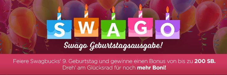 Verdiene hunderte Bonus-SB beim Swagbucks Geburtstag mit Swago, Swagcode Extravaganza, Glücksrad & mehr!
