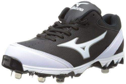 Mizuno Women's 9-Spike Select Softball Cleat,Black/White,7 M US Mizuno patented 9 spike configuration. Parallel outsole wave provides for cushioning and stability. Full length midsole for maximum comfort. Mizuno performance last developed to provide optimal fit and feel for fastpitch. Metal spikes.  #Mizuno #Shoes