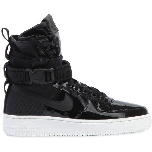 Nike Women Sf Air Force 1 Se Premium Sneakers ($245) ❤ liked on Polyvore featuring shoes, sneakers, black, patent leather shoes, black patent leather sneakers, rubber sole sneakers, nike trainers and black patent shoes