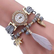 Pena Sintética Weave Envolver Em Torno de Pulseira de Relógio de Cristal Da Cadeia de Moda Dom Relógio reloj hombre reloj mujer NOV10(China (Mainland))