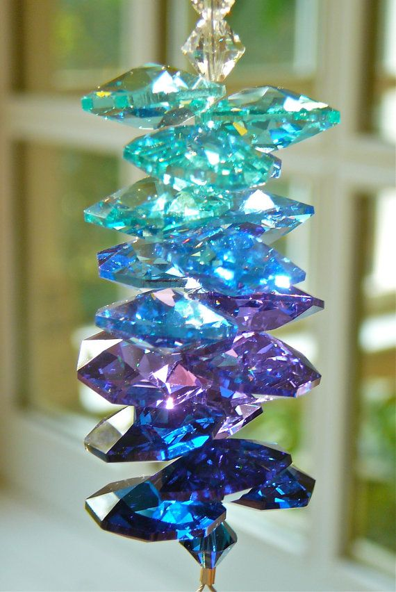 "Swarovski Crystal Suncatcher in Blue, Purple and Teal, ""NIRVANA Long""  30mm Swarovski Crystal Ball with Swarovski Crystals Octagons, 10"""