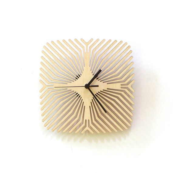 Spider - unique modern wooden wall clock, laser cut, wall art
