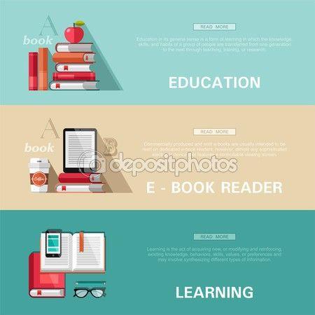 教育,电子书阅读器,学习平面设计概念集。为 web 横幅和印刷的材料的概念 — 图库插图 #57106395