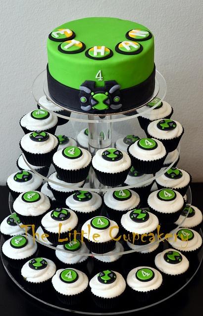 Ben 10 Omnitrix Watch Cupcake Tower by TheLittleCupcakery, via Flickr