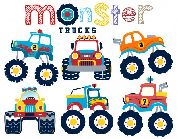 Vector Set Of Monster Truck Cartoon Cartoons Vector Monster