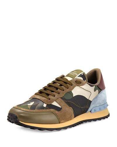 Men's Rockrunner Laminate Camo Leather Trainer Sneaker, Gold/Green