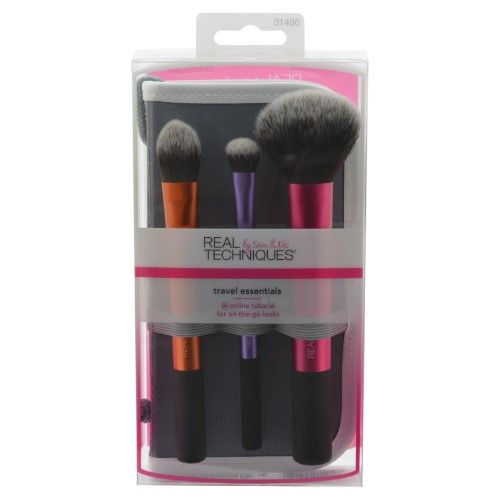 Real Techniques Travel Essentials Set with 2-in-1 Case with Stand, Purple