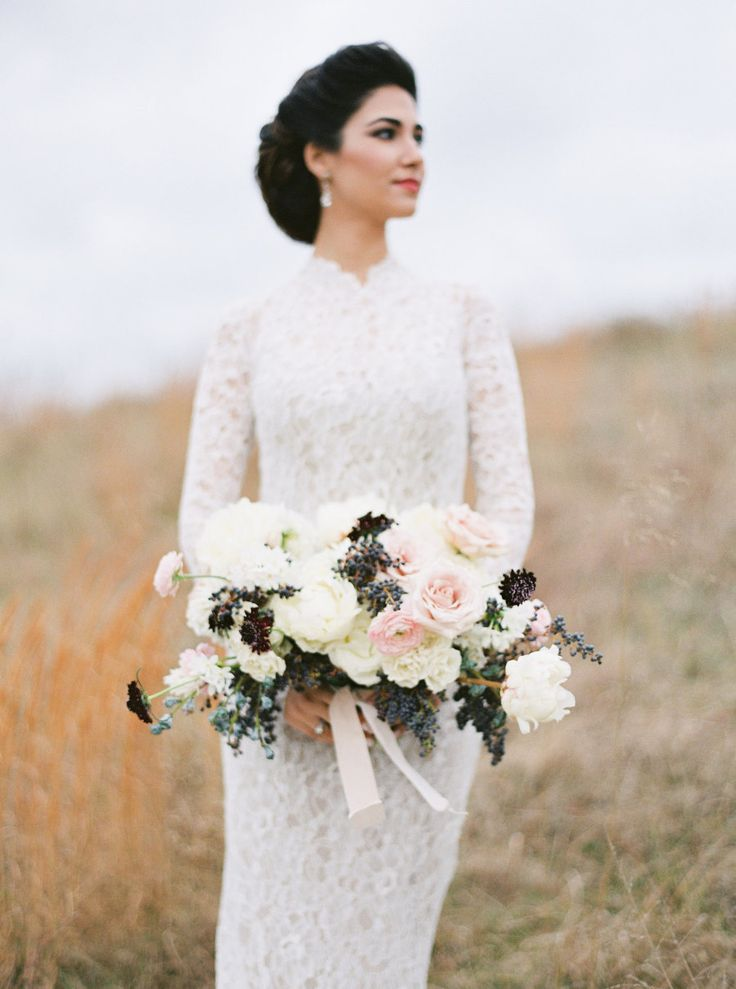 Rose and scabiosa wedding bouquet: Photography: Amelia Johnson Photography - www.ameliajohnson.net   Read More on SMP: http://www.stylemepretty.com/2016/11/14/elegant-winter-wedding-inspiration-winery/