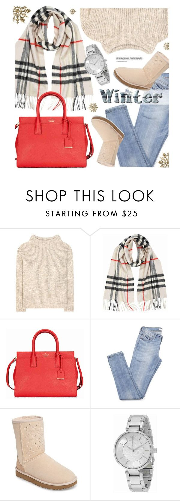 """""""Winter Scarf"""" by jomashop ❤ liked on Polyvore featuring Tom Ford, Burberry, Kate Spade, UGG, Armani Exchange, red, beige and scarf"""