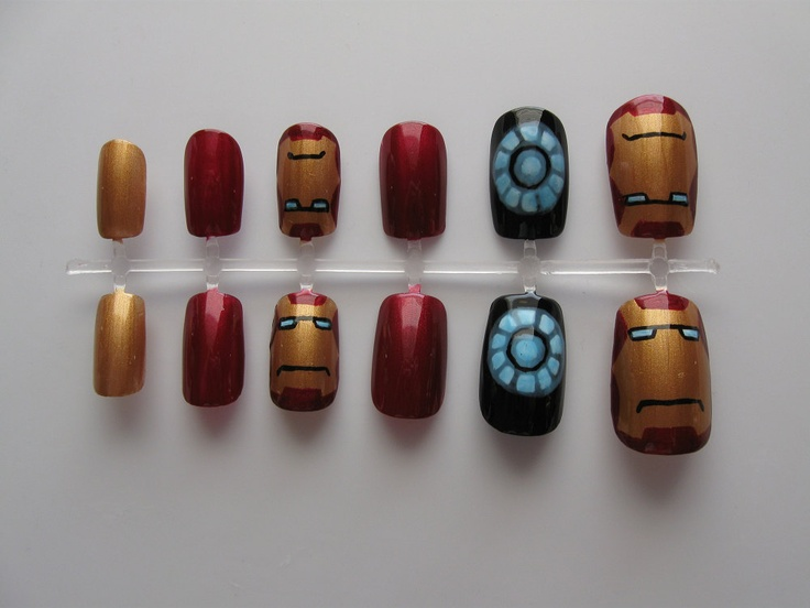 Iron Man Nail Set. $25.00, via Etsy.