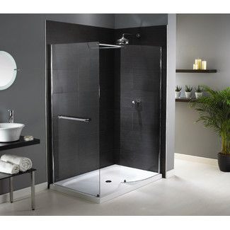 Aqualux Shine Walk-In Enclosure in Polished Silver