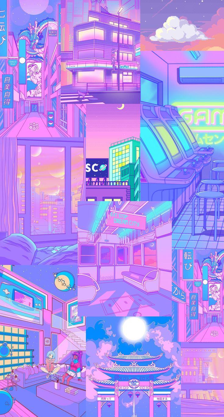 retro purple and blue aesthetic anime wallpaper