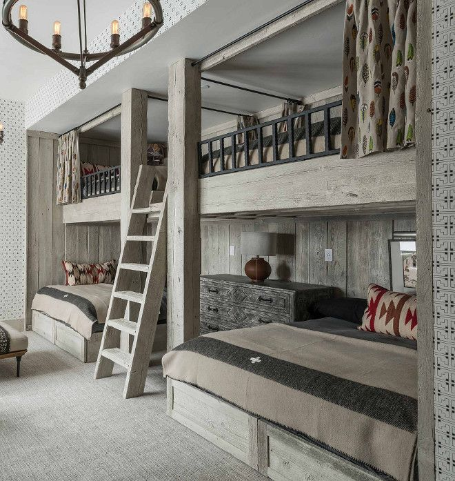 Rustic Bunk Room with Reclaimed Whitewashed Wood Bunk Beds - Locati Architects