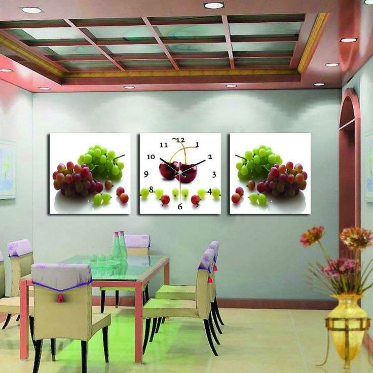 3pcs Print Home Office D Cor Decorative Wall Clock Picture Cherry And Grape