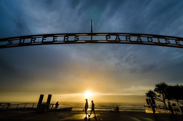 Sunrise at Surfers Paradise, Gold Coast, Australia