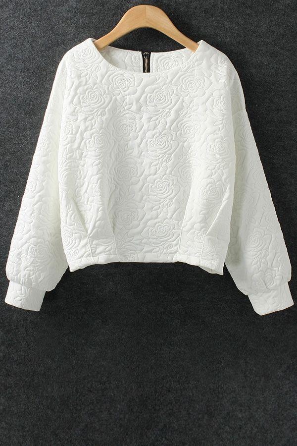 Solid Color Flower Pattern Space Cotton Sweatshirt