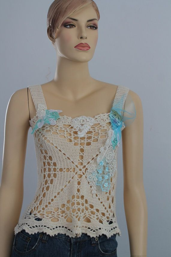 Ready to ship Luxury Ivory Turquoise Crochet Tank  by levintovich, $105.00