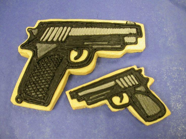 Gun cookies for Sopranos party — Cookies!