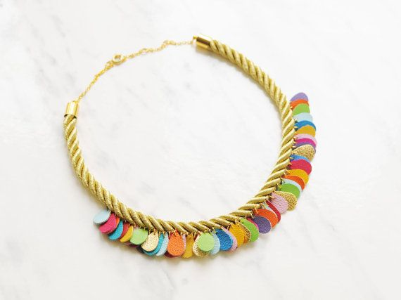 Hey, I found this really awesome Etsy listing at https://www.etsy.com/listing/187699859/handmade-statement-necklace-gold-rope