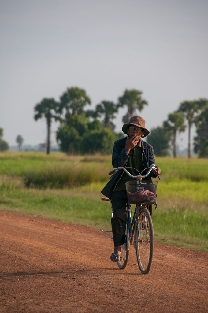 Cycling in Tramper village, Pursat.