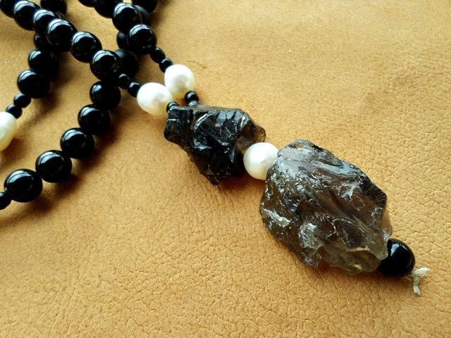 Matt black onyx mala necklace with pearls and smoky crystals by EmilDesign on Etsy