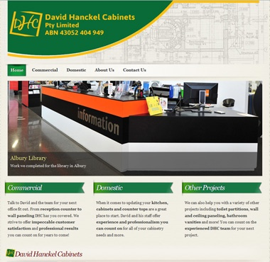 Completed website for David Hanckel Cabinets. http://dhcabinets.com.au designed by Australian Web Design and Marketing http://awdam.com.au #webdesign