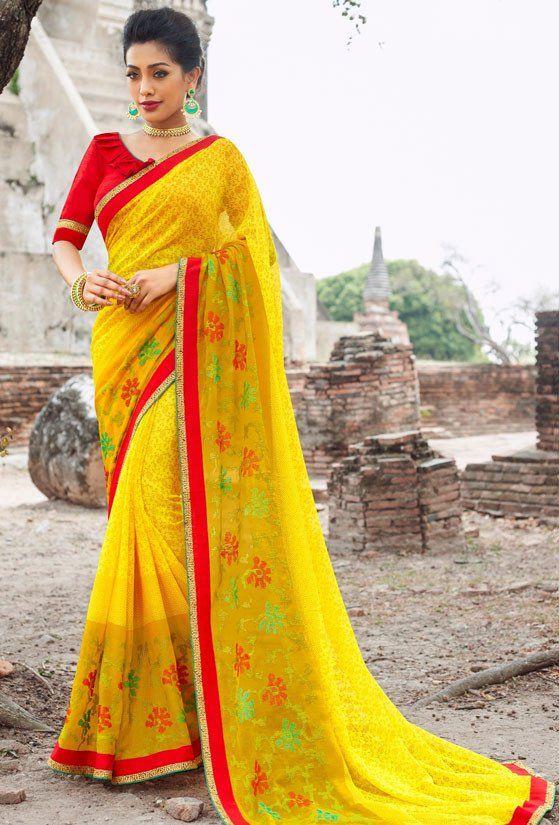 Sunny Yellow Pure Chiffon Saree
