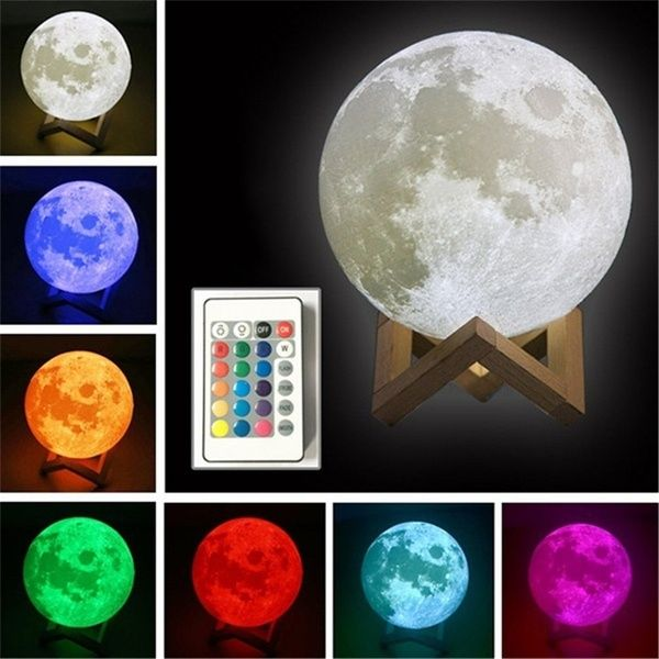 Romantic 3d Usb Led Magical Moon Light Moon Lamp 16 Color Changing Remote Control Night Light Touch Sensor Eaf Night Light Led Night Light Moon Light Lamp