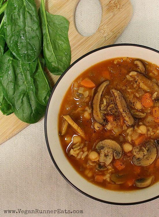 Hearty vegan Chickpea + Shiitake Mushroom Soup recipe | Vegan Runner Eats