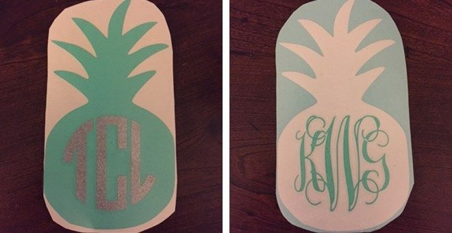 Cold drinks, Warm air blowing,  The smell of the sea salt...We're on island time! This Pineapple Monogram decal is perfect for your laptop, vehicle, cooler, agenda, ect. The Pineapple is 5 inches tall. You will receive ONE monogramed decal. You get to choose between three pineapple colors, three monogram colors, and three fonts.