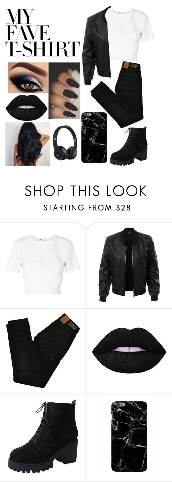 """""""Mysterious T's"""" by stayinyourlane ❤ liked on Polyvore featuring T By Alexander Wang, LE3NO, Maison Scotch, Lime Crime, Harper & Blake, Beats by Dr. Dre and MyFaveTshirt"""