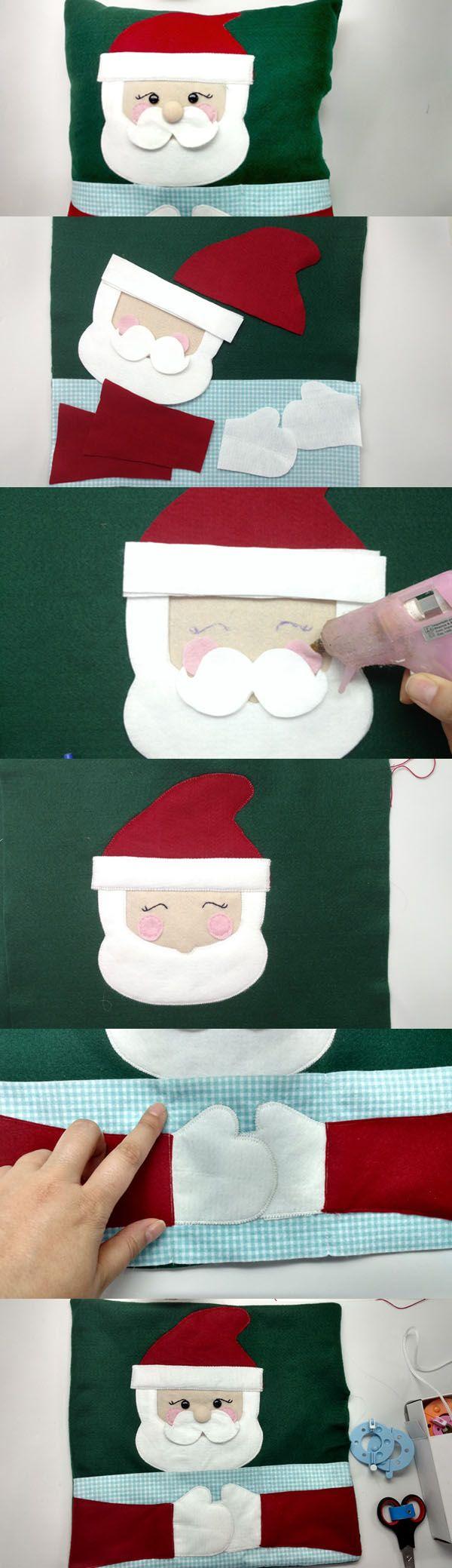CLIQUE AQUI PARA ACESSAR O MOLDE - Como Fazer Almofada de Papai Noel em Feltro – Porta-Controle Remoto