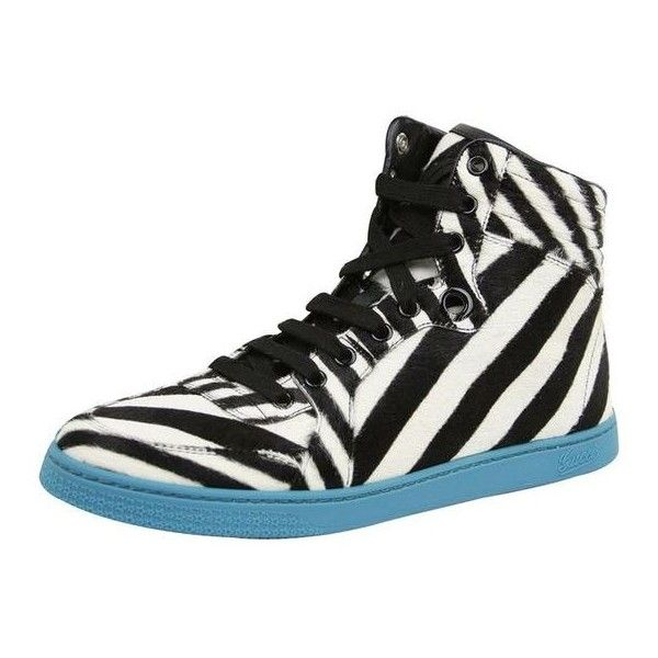 Pre-Owned  Gucci Women's White Black Calf Hair Zebra Print High Top... ($420) ❤ liked on Polyvore featuring shoes, sneakers, neutral, black and white shoes, hi tops, high top trainers, gucci high tops and zebra high top sneakers