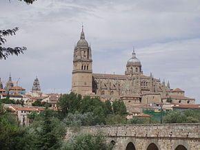 Vista das catedrais velha e nova de Salamanca