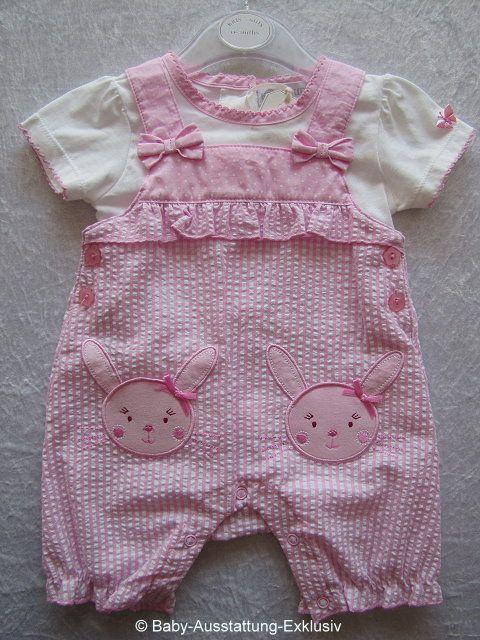 """Rosa Baby-Spielanzug """"Häschen"""" mit Rüschen u. Applikationen, 2-teiliges Mädchen-Set aus Großbritannien - Baby-Ausstattung-Exklusiv"""