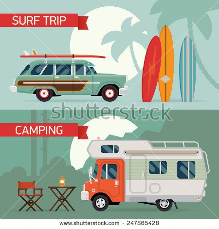 Vector modern flat horizontal web banners design on best summer vacation, beach recreation, surfing, sight seeing, camping, caravan trip and tourism for travel agency promotion and digital marketing