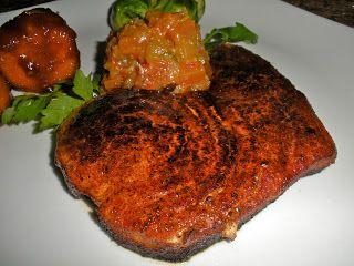 Chef JD's Classic Cuisine: Cajun Blackened Swordfish Steak with Papaya Chutne...