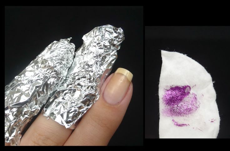 Removing Glitter and Gel Manis - I've tried this method and it absolutely works!!!  You just soak the cotton ball with ACETONE nail polish remover, place on nail, wrap with foil, and go about your business for 5-10 minutes.  Gel and glitter comes right off.  Give your nails a quick swipe with a soaked cotton ball to remove any leftovers.  This is the best way to remove glitter AND gel manicures!!!
