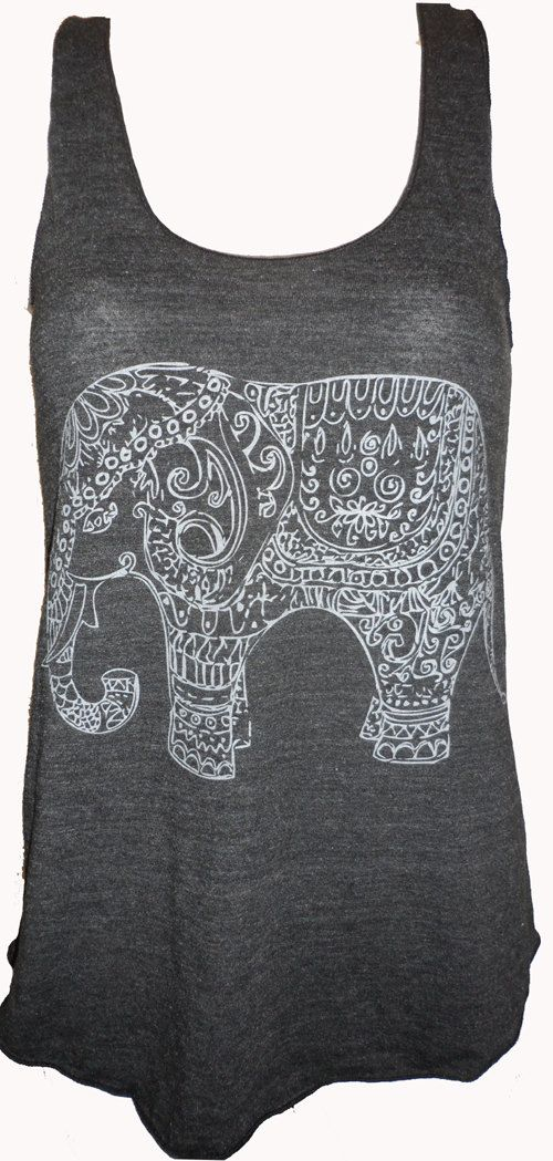 Painted Elephant Paisley Henna Art Tank by UnknownArtistApparel