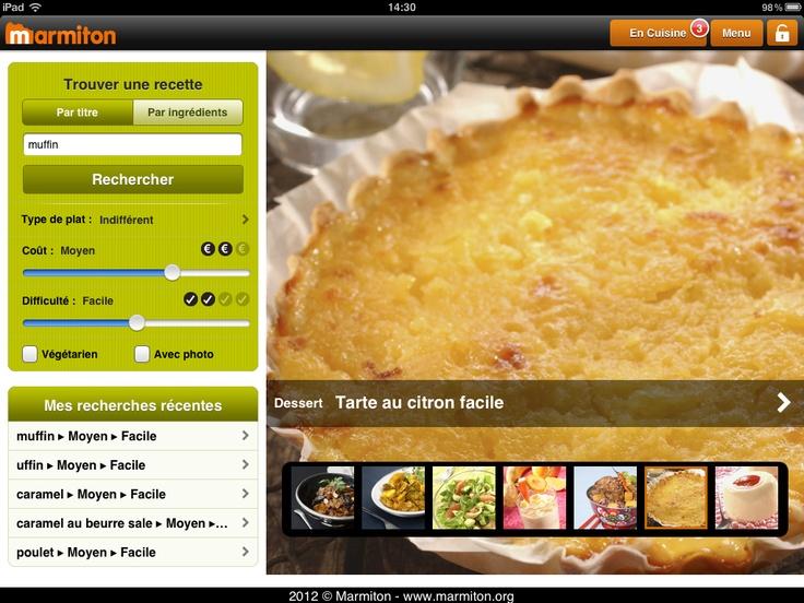 Marmiton - Ecran d'accueil de l'application   * Structuration différente des informations dans la page.   * Slideshow d'une sélection de recettes