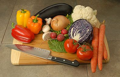 Compare the details of each image, noting where the colors are pretty similar, such as the red & orange peppers, and the radishes. Then look at the items with colors rendered differently, such as the floor, cutting board, carrots, cabbage, and lettuce leaf, for example. A low Color Rendering Index does not mean all colors will shift, and no 2 lamps with the same low CRI rating will necessarily have the same errors in rendering.
