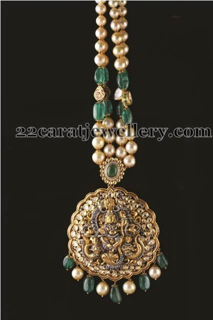 Jewellery Designs: Pearls Emeralds Chain with Lord Krishna