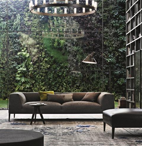POLIFORM: Metropolitan sofa with pouf in leather and Ipsilon stool