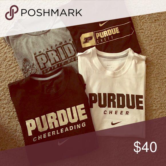 Purdue Cheerleading shirts! 3 Nike dri-fit shirts! Gray one is sport tek. Size M! Tops