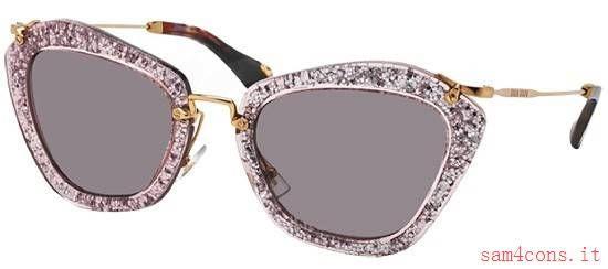 Occhiali da sole Miu Miu Viola Glitter mu10NS tkb6x1 stili di moda