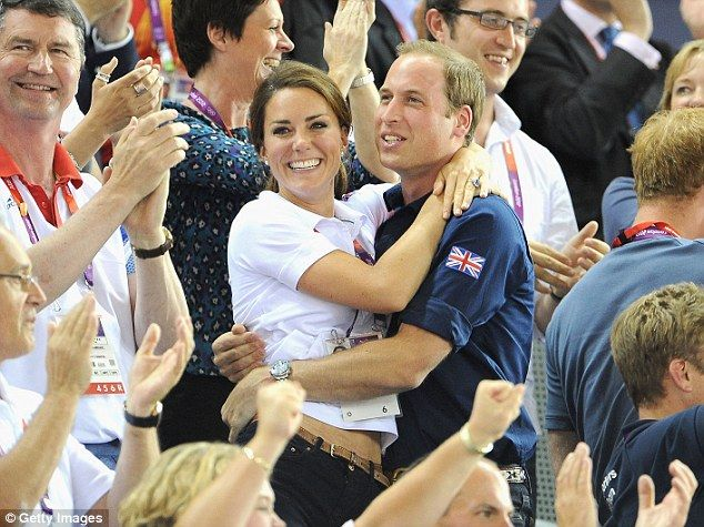 Celebratory clinch at the velodrome: William and Kate have been dominating French TV screens and newspapers during their appearances at the London Olympics